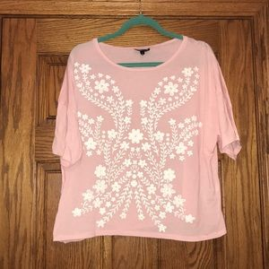 Light Pink Tee with White Floral Design